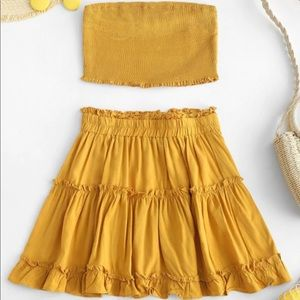 ZAFUL smocked bandeau top and skirt set